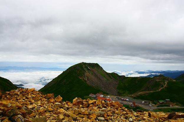 富士見岳山頂から雲海と畳平