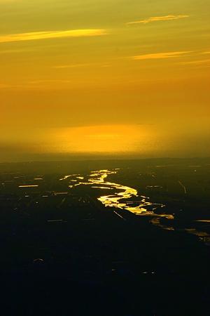 手取川と黄昏