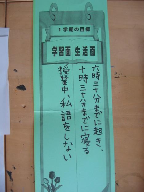 2009/09/16 息子の1学期の目標