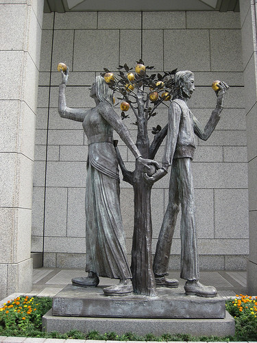 Statues of Adam and Eve at Citizen's Plaza