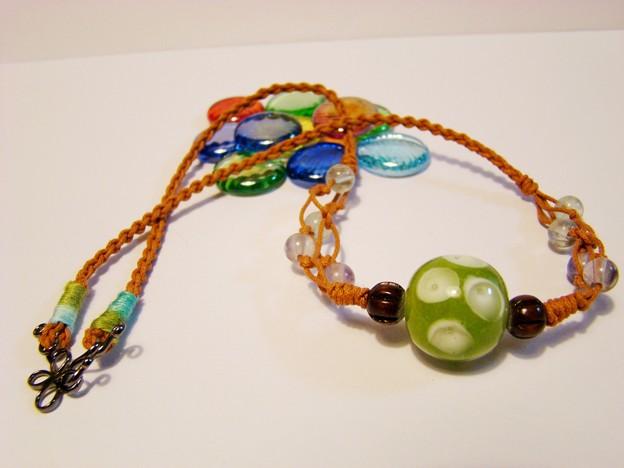 Photos: ドット柄のトンボ玉のネックレス