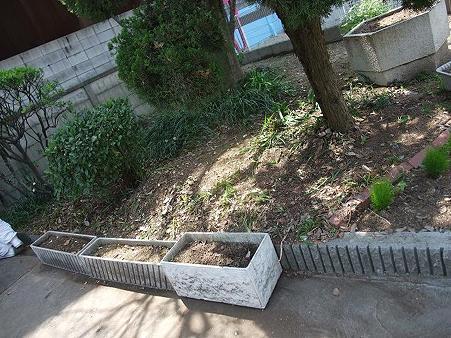 荒れ果てていた花壇を清掃