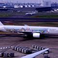 羽田空港 到着便 JAL B777-200ディズニー仕様機・・20140329