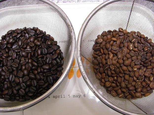 2度焙煎(左)